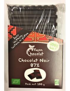 Tablette Chocolat Noir Bio - à 87% cacao - 100g